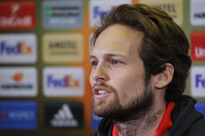 Manchester United's Daley Blind during the press conference on March 8, 2017.