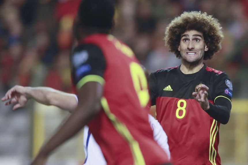 Belgium's Marouane Fellaini (right) in action during the March 25, 2017, World Cup qualifier against Greece.