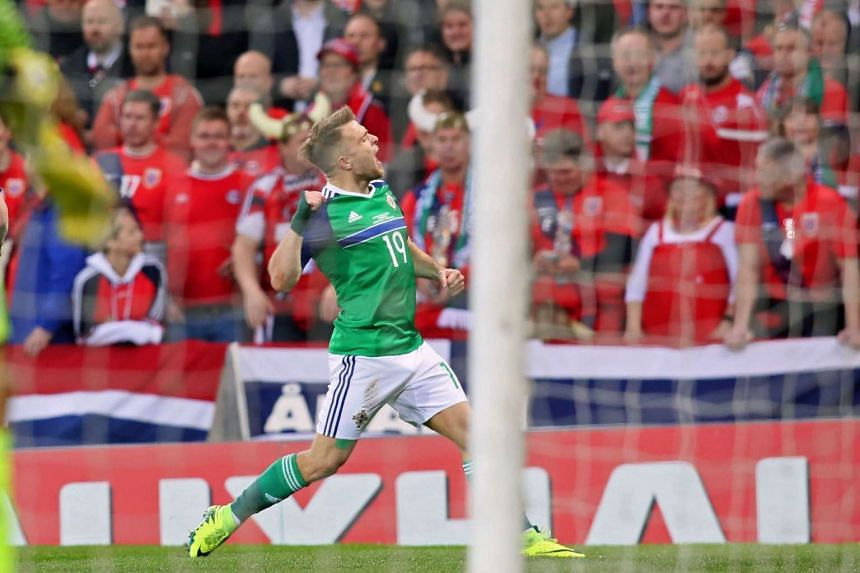 Northern Ireland's striker Jamie Ward celebrates after scoring the opening goal of the World Cup 2018 qualification football match between Northern Ireland and Norway.