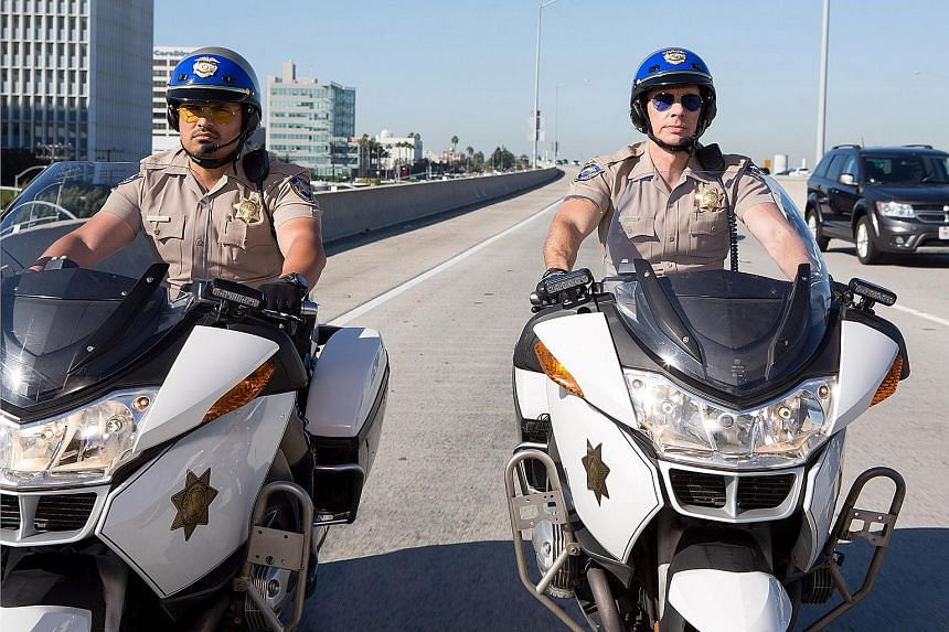 Dax Shepard wrote, directed, produced and stars in action comedy Chips (with Michael Pena, far left).