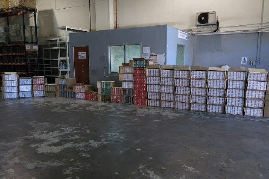 3,450 cartons of duty-unpaid cigarettes were seized in the car park of the commercial building in Toh Guan Road.