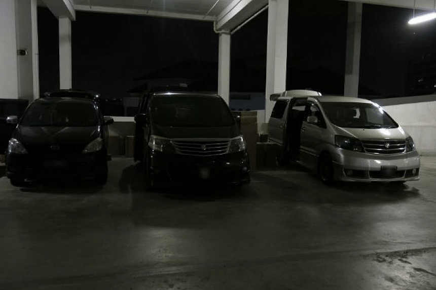 Three vehicles were seized in the car park of the commercial building in Toh Guan Road.