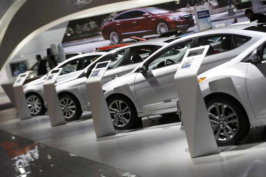 Hyundai vehicles lined up in the company's presentation area during the North American International Auto Show in Detroit, Michigan, US, on Jan 10, 2017.