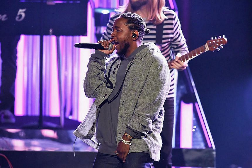 Rapper Kendrick Lamar onstage during the 2016 American Music Awards at Microsoft Theater.