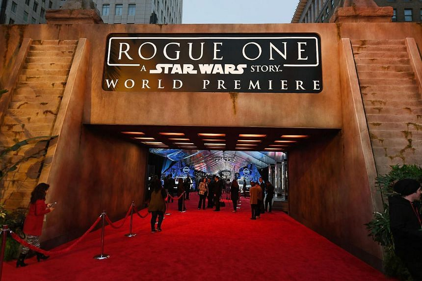 This file photo taken on Dec 9, 2016, before the premiere of Walt Disney Pictures and Lucasfilm's Rogue One: A Star Wars Story at the Pantages Theatre in Hollywood, California.