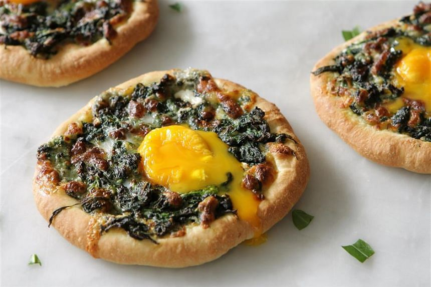 Brazilian Spinach, Egg And Blue Cheese Pizza.