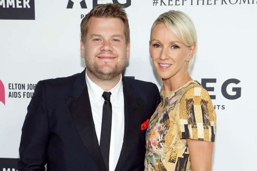 "The Late Late Show gives him a chance to ""be creative every day"", says comedian James Corden, with his wife, Julia Carey."