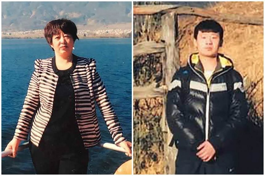 (Right) Yu Huan, 22,  was convicted in February for stabbing to death a man who had beaten and humiliated his mother (left) Su Yinxia.