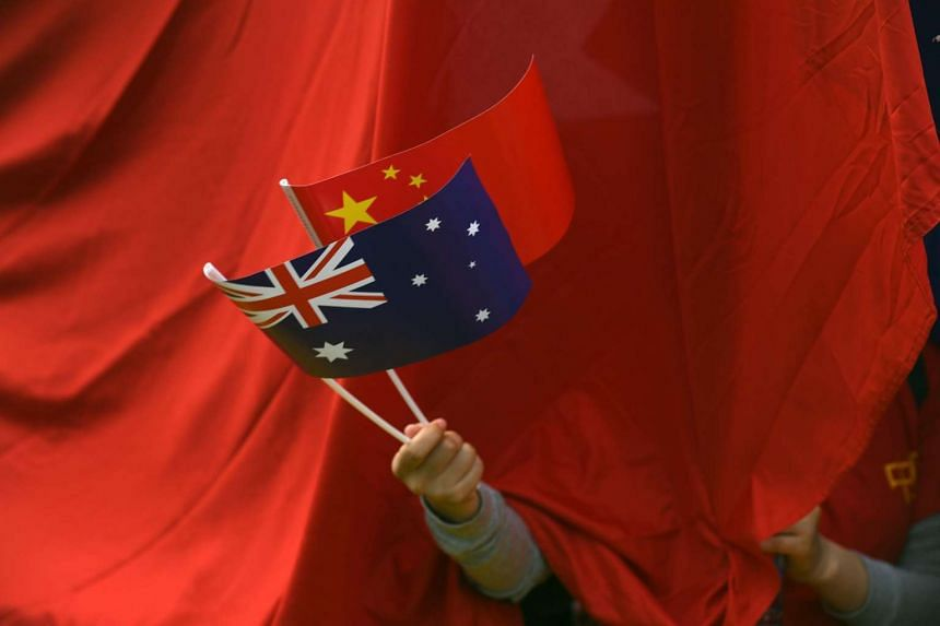 A supporter waving Chinese and Australian national flags during the arrival of Chinese Premier Li Keqiang to the Parliament House in Canberra, Australia, on March 23, 2017.