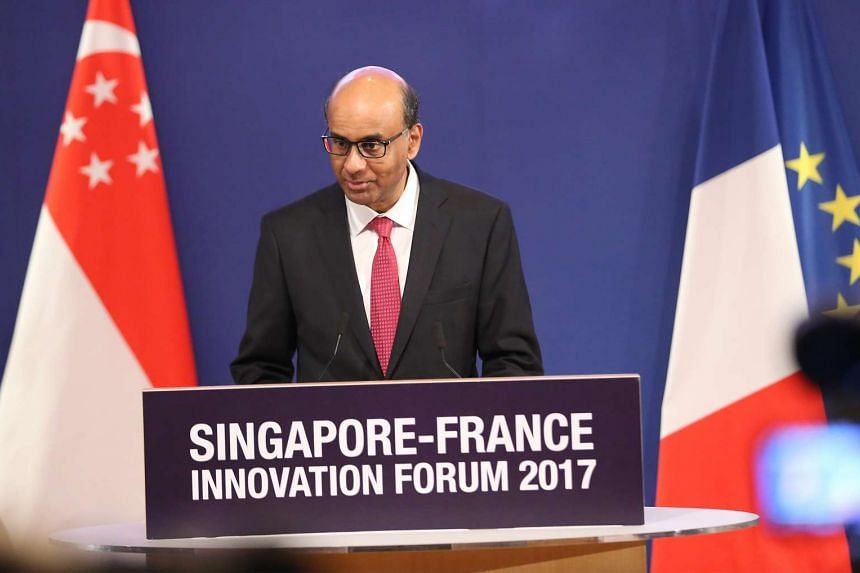 Deputy Prime Minister Mr Tharman Shanmugaratnam speaking at the opening of the Innovation Forum at the Matrix Building, Biopolis Street, on March 27, 2017.