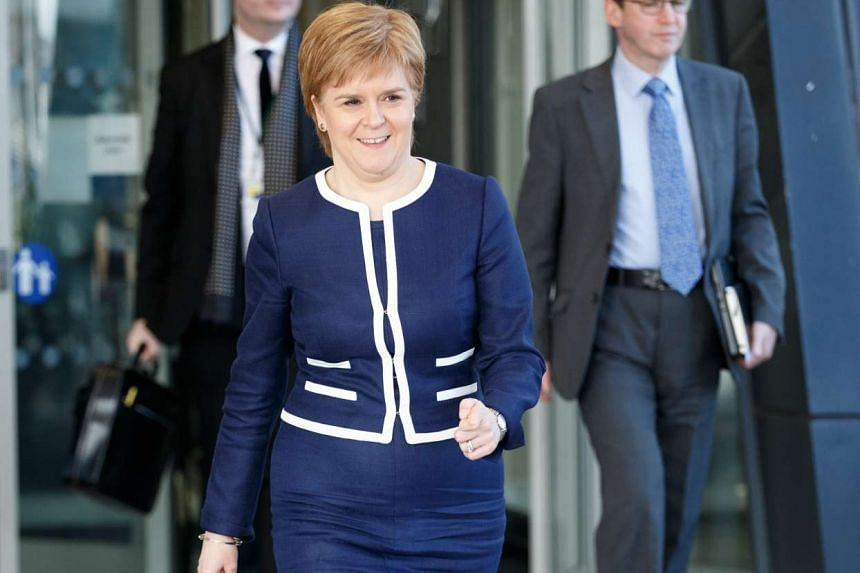 Scotland's First Minister and Scottish National Party leader Nicola Sturgeon leaves the Crowne Plaza Hotel in Glasgow after talks with British Prime Minister Theresa May in Glasgow, Scotland, March 27, 2017.