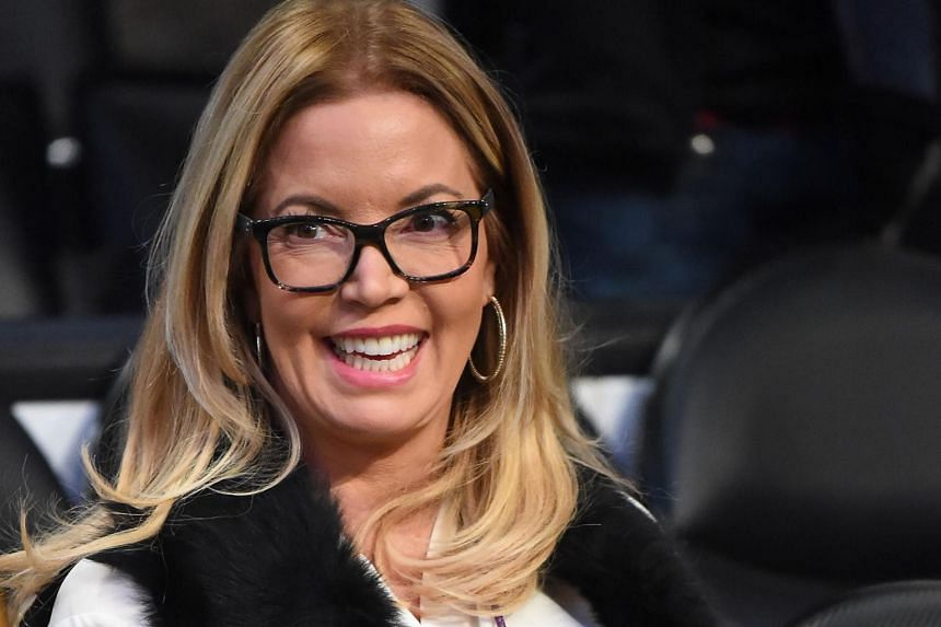 Jeanie Buss, President and part owner of the Los Angeles Lakers, watches warm up before the game against the San Antionio Spurs at Staples Centre.