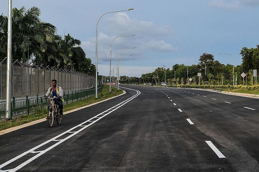 The widened Tanah Merah Coast Road will have a 10km-long, 2m-wide bicycle lane on both sides, which can be used from April 22.