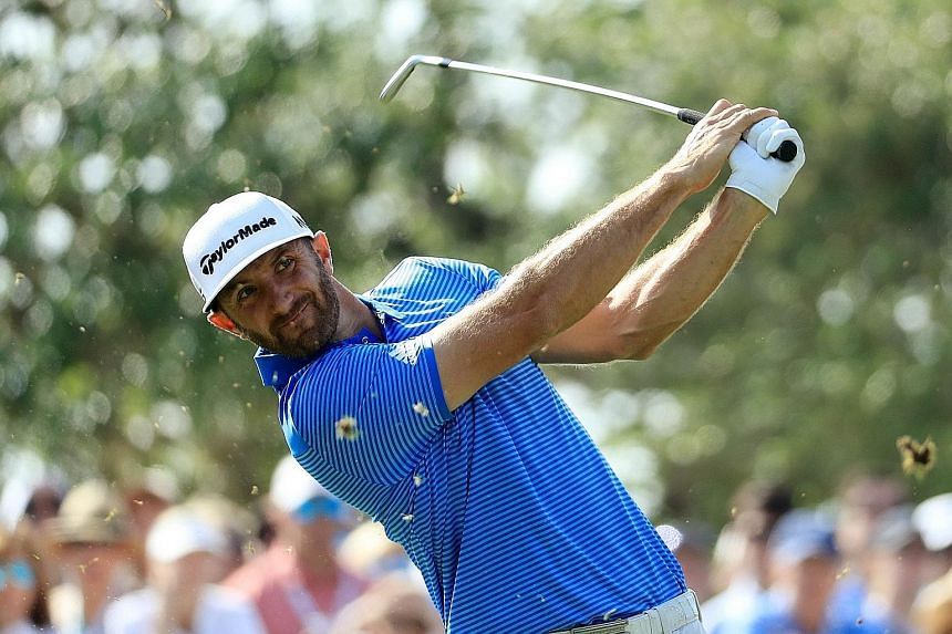 Dustin Johnson teeing off at the WGC Matchplay event. Only the second-ever player to win two WGC titles in a row, Johnson is the hot pick going into the US Masters.