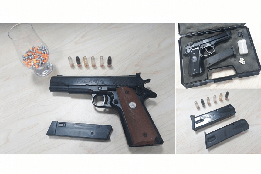 Two airsoft guns with pellets and two handgun magazines with plastic cartridges were found in the man's possession, and seized as case exhibits.