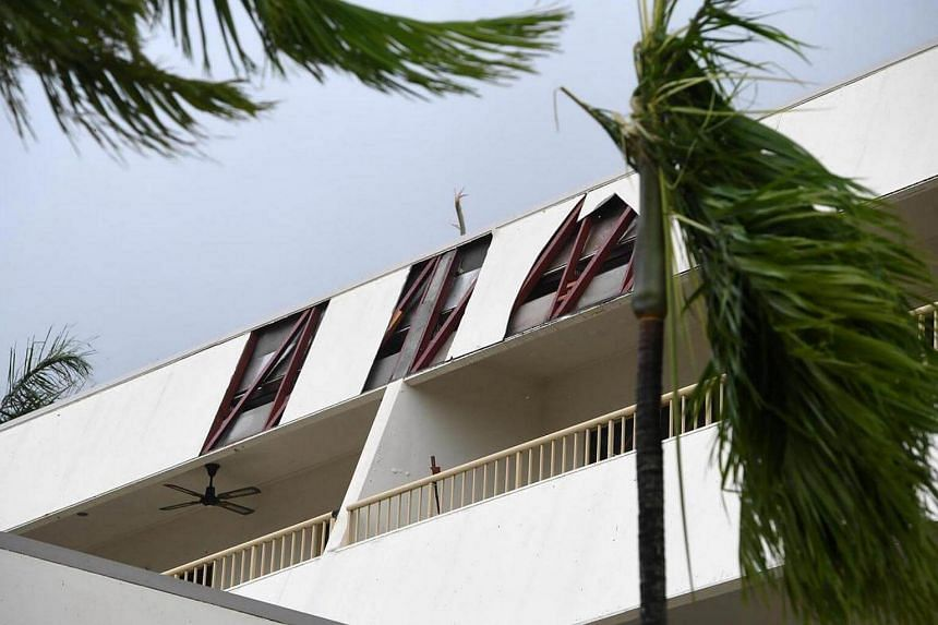 Structural damage on a building of a hotel is seen at Airlie Beach, Queensland, Australia, on March 28, 2017.
