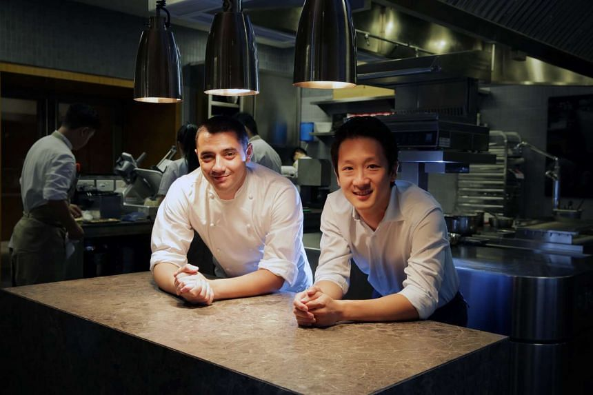 French chef Julien Royer, and Wee Teng Wen, co-owners of Odette, French restaurant named after Royer's grandmother, at the National Gallery Singapore's former Supreme Court wing.