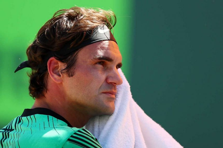 Roger Federer looks on against Juan Martin Del Potro during Day 8 of the Miami Open on March 27, 2017 in Florida.