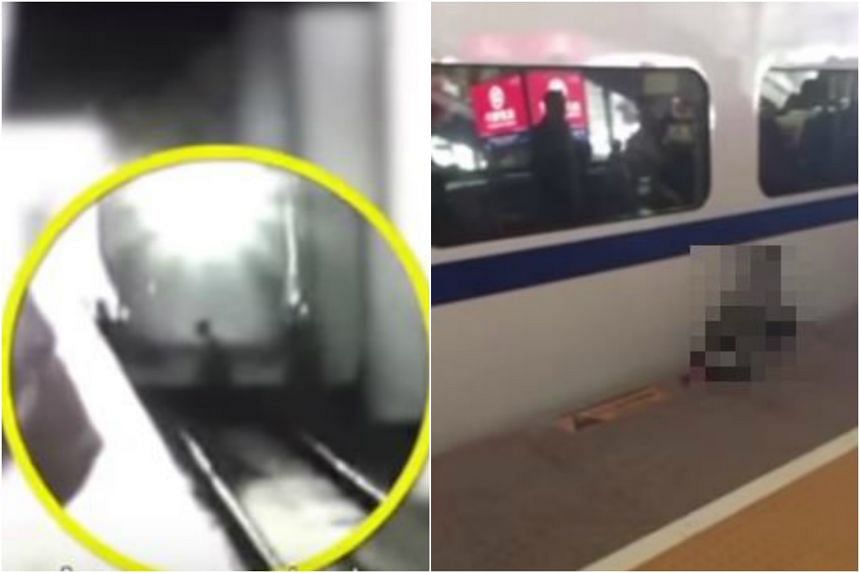 The man, who was attempting to cross the tracks in front of a bullet train, ended up wedged between the train and the platform.