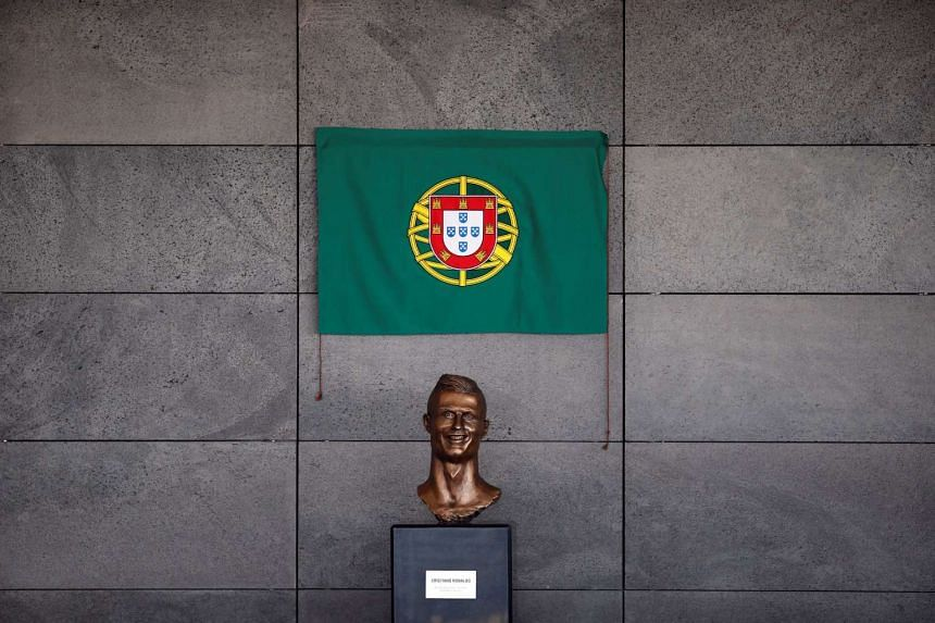 The bust of Real Madrid forward Cristiano Ronaldo is seen at the ceremony to rename Funchal airport as Cristiano Ronaldo Airport.