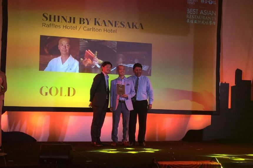 Master chef Koichiro Oshino of Shinji by Kanesaka, which was formerly at Raffles Hotel, receives a Gold award at the Best Asian Restaurants Awards on March 29, 2017.