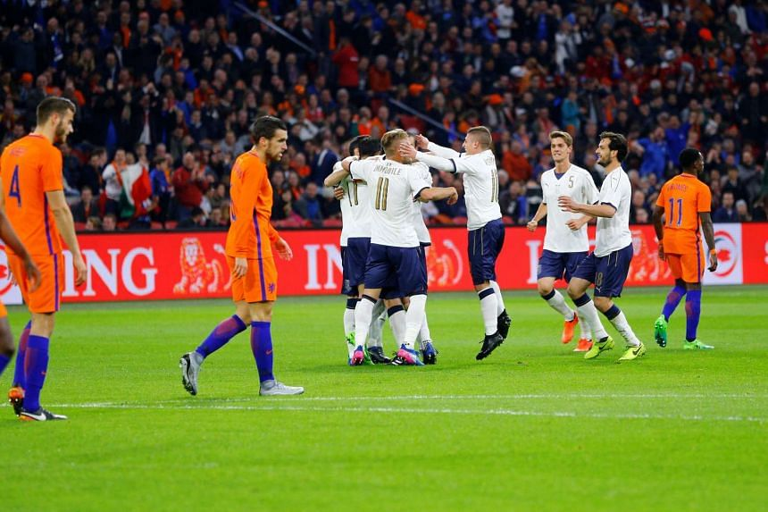 Italy's Ciro Immobile celebrates scoring a goal against the Netherlands during an international friendly match on March 28, 2017.