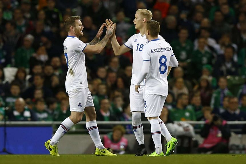 Iceland's Hordur Bjorgvin Magnusson celebrates scoring their first goal with team mates.