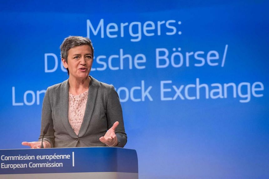 European Competition Commissioner Margrethe Vestager speaks during a press conference in Brussels on March 29, 2017, about the EU decision to block the LSE-Deutsche Boerse merger.