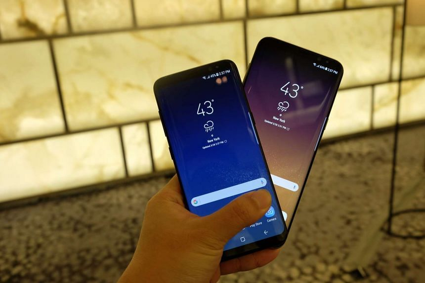 Samsung launched its latest smartphones, the 5.8-inch Galaxy S8 (left) and a bigger 6.2-inch Galaxy S8+ (right) in New York on March 29, 2017.