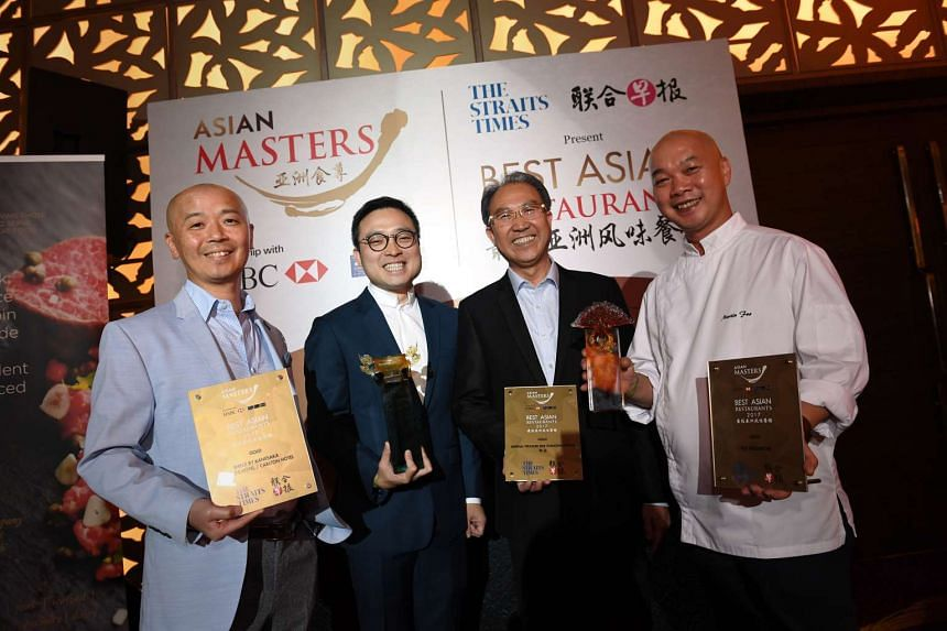 (Left to right) Best Asian Restaurants winners: master chef Koichiro Oshino of Gold winner Shinji by Kanesaka (previously located at Raffles Hotel, reopening at Carlton Hotel on April 3); Kenny Leung and Vincent Leung from the Imperial Treasure Resta