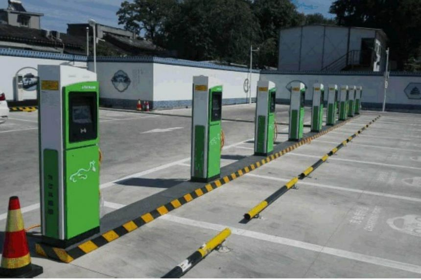 Some of Beijing E-Star's public charging stations in the capital of China.