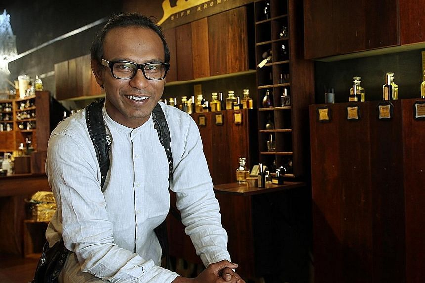 """Mr Johari picked the name Sifr Aromatics because he wanted to start his shop with a clean slate. Sifr is an Arabic word meaning """"zero"""" and the name is fashionably cryptic to most Singaporeans."""