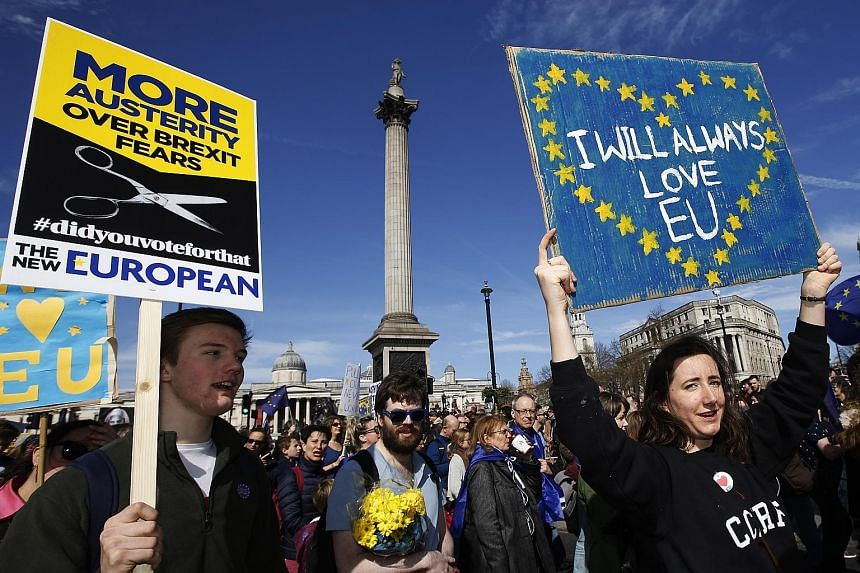 """Protesters demonstrating in front of Nelson's Column in London's Trafalgar Square during a """"Unite for Europe"""" march last Saturday to protest against Brexit."""