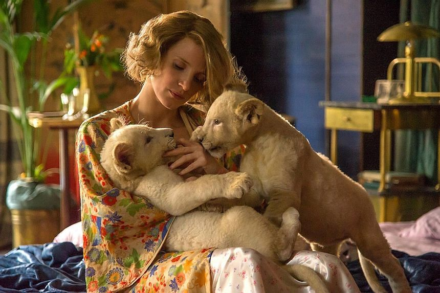 Actress Jessica Chastain plays Antonina Zabinski in The Zookeeper's Wife, who shelters Jews in her zoo during World War II.