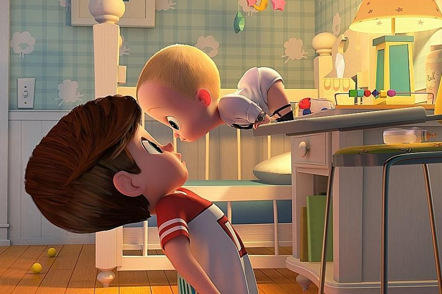 Seven-year-old Tim (voiced by Miles Bakshi) finds himself competing against Baby (Alec Baldwin, both above) for their parents' attention.