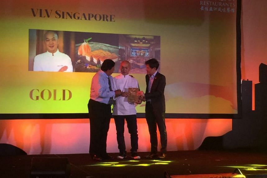 Executive head chef Martin Foo of VLV receives the Gold award at the Best Asian Restaurants Awards on March 29, 2017.