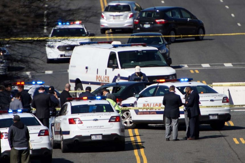 Traffic and police at the scene in Washington,DC, where a man was arrested near the US Capitol.