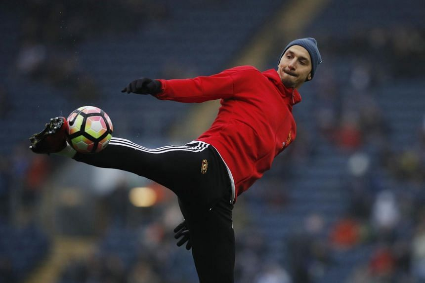 Manchester United's Zlatan Ibrahimovic warms up before the match.