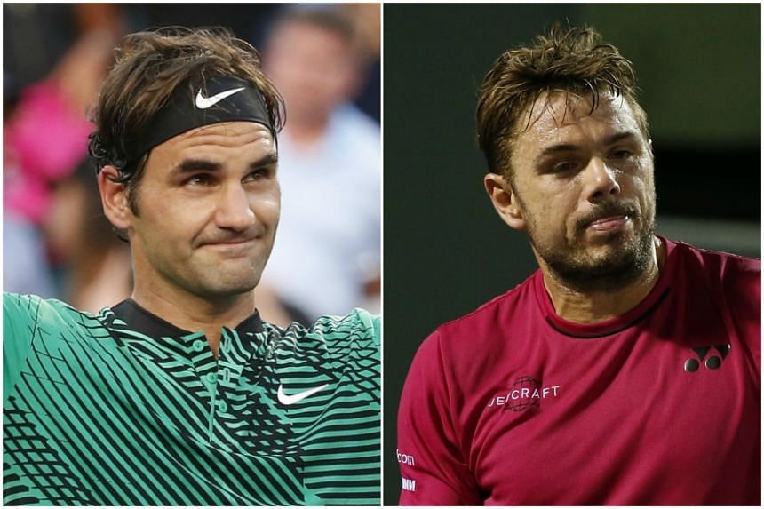 Roger Federer (left) survived a stern test from Spain's Roberto Bautista Agut to reach the Miami Open quarter-finals on Tuesday (March 29), while top-seeded Swiss compatriot Stan Wawrinka (right) was eliminated on his birthday.