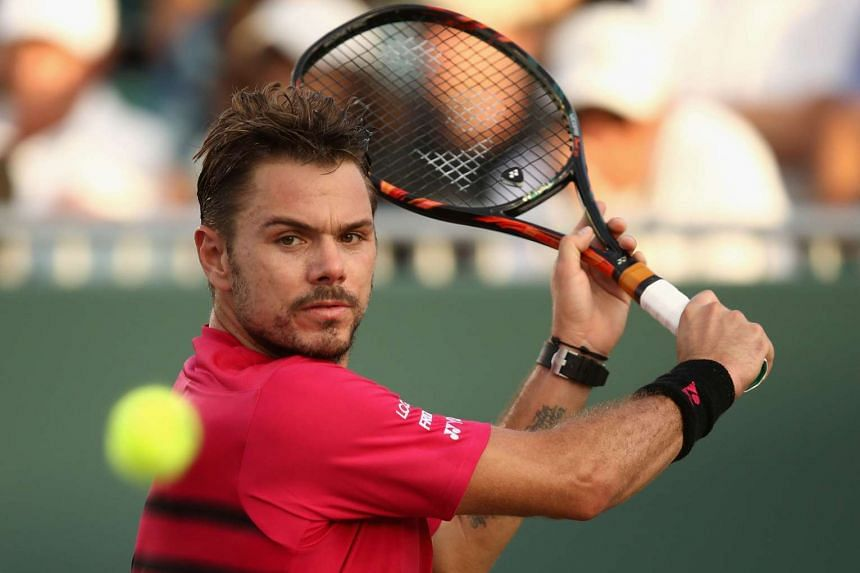 Stan Wawrinka of Switzerland playing at Crandon Park Tennis Center on March 28, 2017, in Key Biscayne, Florida.