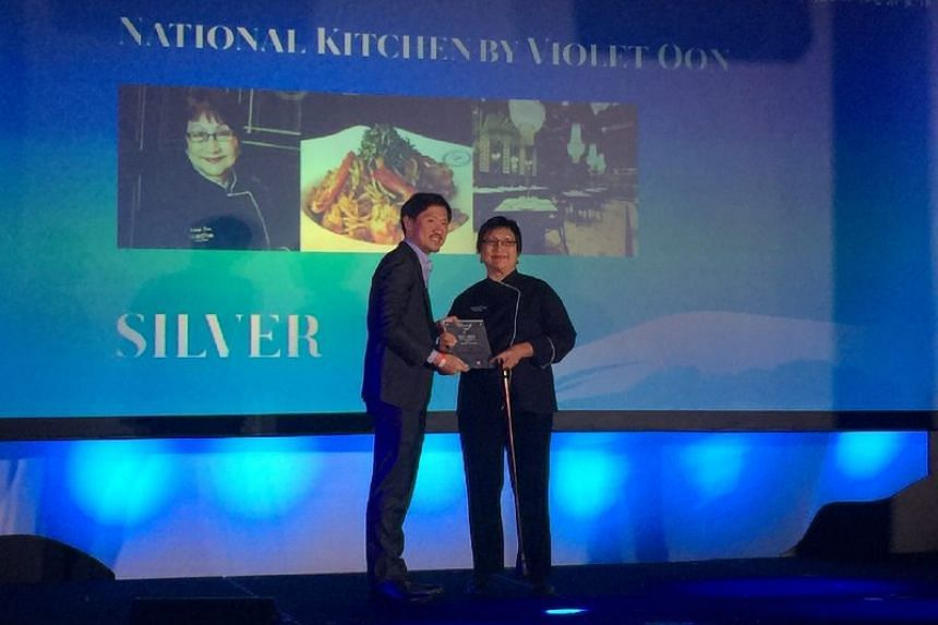 Violet Oon, chef-owner of Peranakan restaurant National Kitchen by Violet Oon at the National Gallery, receives a Silver award at the Best Asian Restaurants Awards on March 29, 2017.