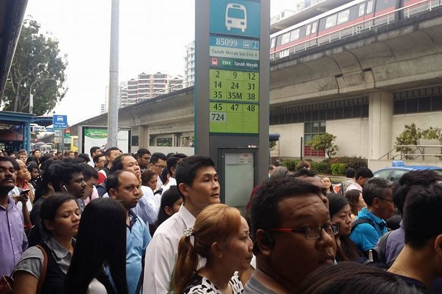 A 40-minute train delay at Tanah Merah station on March 30, 2017, caused a flood of passengers to turn to the free bus services available instead.