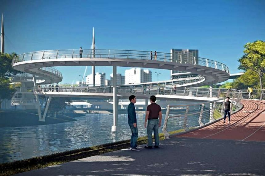 A spiral bridge for active mobility users could serve as a linkbridge across the PIE.