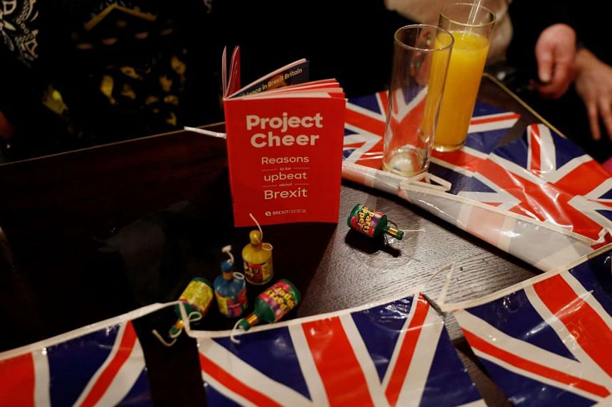 A Pro-Brexit leaflet is seen at an event to celebrate the invoking of Article 50 after Britain's Prime Minister Theresa May triggered the Brexit process.