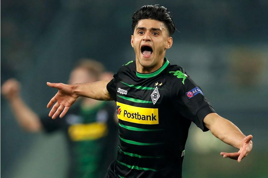 Mahmoud Dahoud celebrates a goal during a Uefa Europa League match between Borussia Moenchengladbach and FC Schalke 04 on March 16, 2017.
