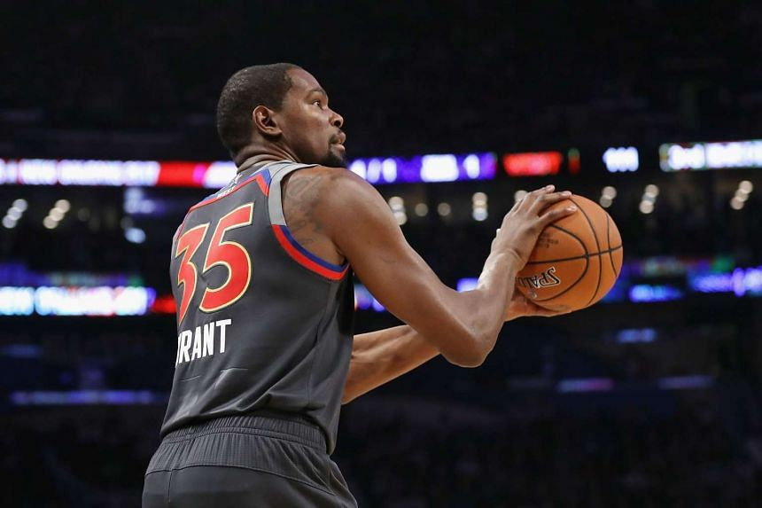 Kevin Durant of the Golden State Warriors in a 2017 NBA All-Star Game on Feb 19, 2017.