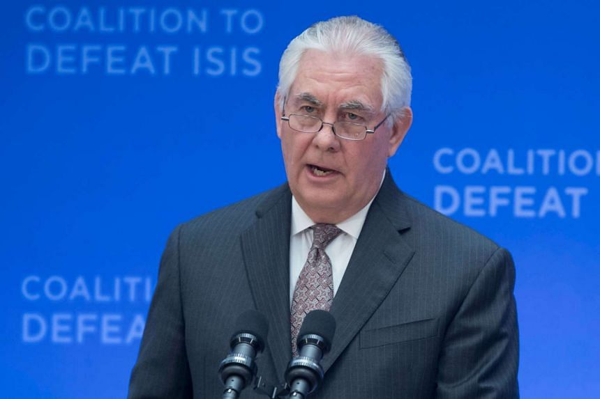 US Secretary of State Rex Tillerson delivers remarks at the Meeting of the Ministers of the Global Coalition on the defeat of the so-called Islamic State at the State Department in Washington, DC, US, on March 22, 2017.