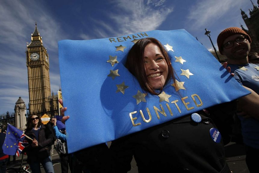 A woman taking part in an anti-Brexit protest in London on March 25, 2017.
