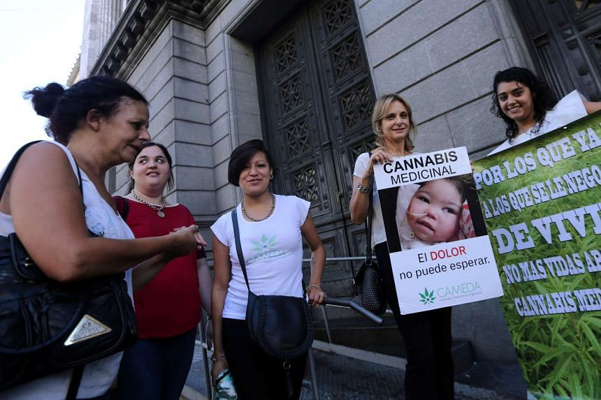Demonstrators holding up signs as they wait outside the Congress for the Senate to pass a law to legalise the medical use of cannabis in Buenos Aires, Argentina, on March 29, 2017. The sign shows a girl named Nayra, who suffers from refractory partia