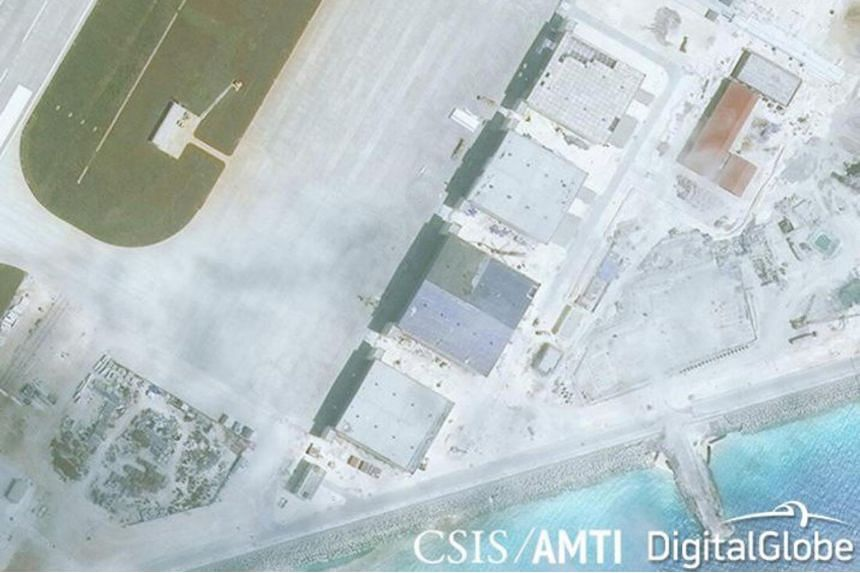 Construction is shown on Mischief Reef, in the Spratly Islands, in the disputed South China Sea on March 11, 2017, according to a satellite image released by the CSIS Asia Maritime Transparency Initiative.